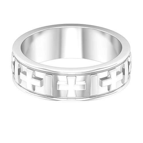 Anillo de compromiso personalizado de oro macizo grabado para boda, anillo de compromiso de uso diario, anillo de compromiso a juego, banda ancha de oro para aniversario, 14K Oro blanco, Size:EU 59