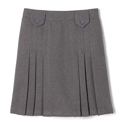 French Toast Girls' Big Front Pleated Tab Skirt, Heather Gray, 16