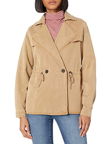 Lucky Brand Women's Cropped Trench Coat, kelp, Small