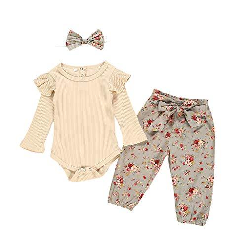 Neugeborenes Baby-Unisex Schlafsack Strampler - Baby Baby Rüschen Solid Romper Bodysuit + Blumenhose + Stirnband Outfits - ODRD Mädchen Jungen Body Babyschlafsack Kleinkind Sommer