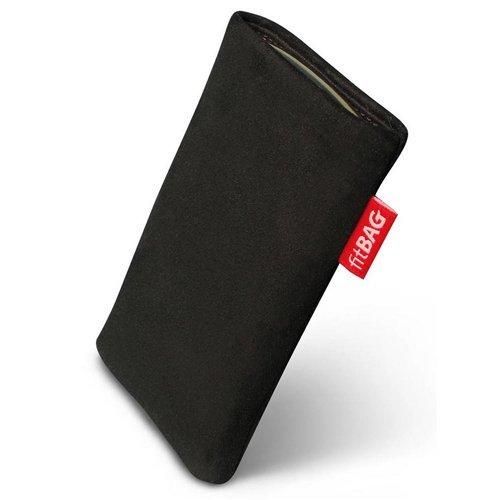 fitBAG Folk Schwarz Handytasche Tasche aus feinem Wildleder Echtleder mit Microfaserinnenfutter für Apple iPhone 3Gs 16GB 16 GB