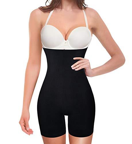 Nebility Women Waist Trainer Shapewear Tummy Control Body Shaper Shorts Hi-Waist Butt Lifter Thigh Slimmer (M/L, Black)