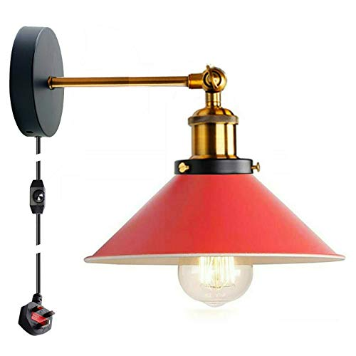 Lámpara de pared retro moderna con enchufe de 2 m, cable de cable e interruptor de atenuación, Edison de metal oscilante ajustable E27, lámpara de mesa de noche de lectura industrial vintage (rojo)