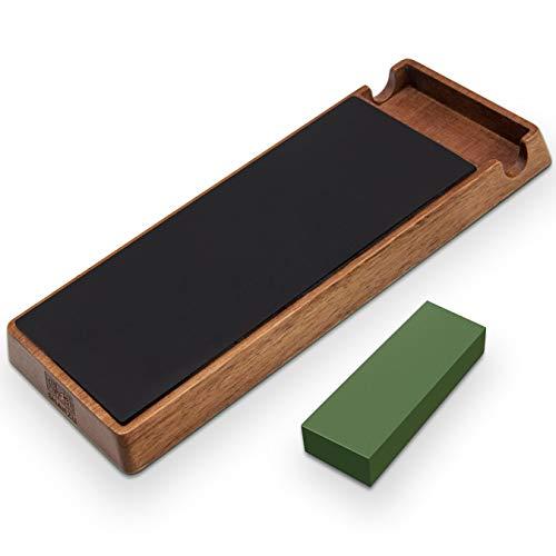 SHANZU Afilador de cuero Strop con compuesto de pulido verde para afilar cuchillos, cuchillos, navajas de afeitar rectas, cinceles para tallar madera de 3 x 8 pulgadas
