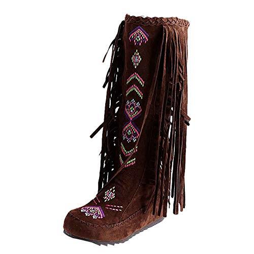 ZARLLE Moda Costumbre Popular Botas Bordado Retro Boots de Flecos Mujer Zapatos Planos Invierno Botines Rodilla Botas Altas Comodos Salvaje