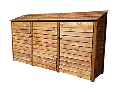 Arbor Garden Solutions Wooden Log Store Extra Large With Doors 6Ft (4.9 cubic meters capacity) (W-335cm, H-180cm, D-81cm)