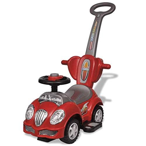 Zerone - Coche infantil con barra de empuje para empujar (color rojo)
