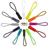 EuTengHao 120 Pcs Zipper Pulls Zipper Extension Pulls Nylon Cord Zipper Tag Replacement for Clothes, Backpacks, Traveling Case, Handbag, Purse Zipper Replacement Tag Tents (12 Colors)