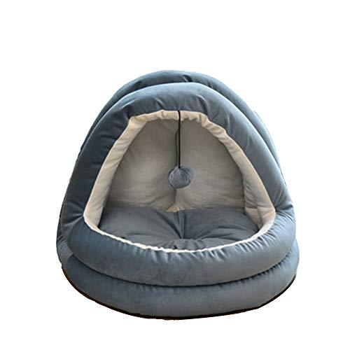GYJ 2-in-1 Kat Bed and Cave, Huisdier Nest, Corduroy Tent voor huisdieren, Huis Villa, Vier seizoenen Universeel Gesloten met Pluche Voering door Beste benodigdheden