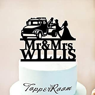 Tow Truck Wedding Cake Topper,Driver Cake Topper,Trucker Wedding Cake Topper,Pick Up Truck Cake Topper,Bride And Groom,Mr & Mrs Topper Wooden Or Acrylic Cake Topper Cake Decoration