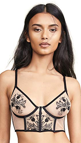 Thistle & Spire Women's Verona Embroidered Longline Bra, Black, 32D