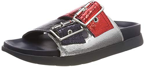 Tommy Hilfiger Damen Crackle Metallic Footbed Slipper-Sandale, Rot (Rwb 020),41 EU