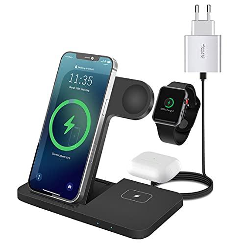 3 in 1 Caricatore Wireless,pieghevole 15W Qi Caricabatterie Senza Fili (Adattatore QC3.0 incluso) Compatibile con iPhone 13/12/11/X/XR/8;Carica Induzione per Apple iWatch 6/SE/5/4/3/2 e Airpods 2/Pro