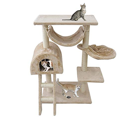 Todeco - Árbol para Gatos, Escalador para Gatos - Material: MDF - Tamaño de la casa de Gato: 35,1 x 35,1 x 24,9 cm - 100 cm, 5 Plataformas, Beige