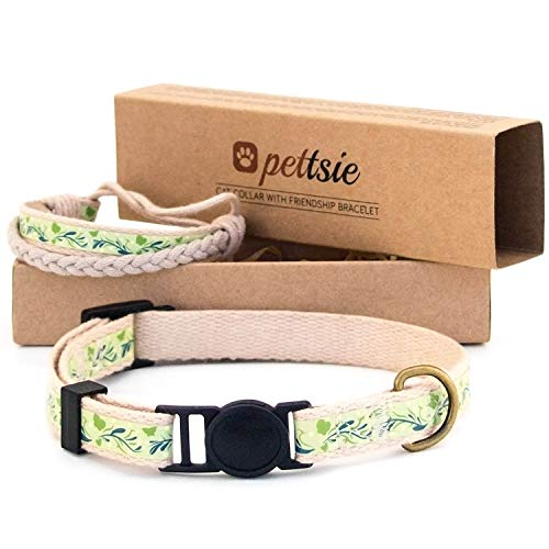 Pettsie Cat Collar Breakaway & Matching Friendship Bracelet, Eco-Friendly Gift Box, D-Ring for Accessories, 100% Cotton for Extra Safety & Comfort, Easy Adjustable