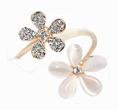 Leisial Nuova Moda Anello con Due Diamanti Anello Regolabile Apribile Fiori Margherita delle Donne Anello Aperto