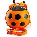Happykids てんとう虫子供用リュック 迷子防止ひもリード付き 幼児ハーネス 公園遊びバック すぎる転倒防止リュック プレゼント(オレンジ)
