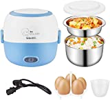 Electric Lunch Box for Home and Office 110V 200W - Removable Stainless Steel Portable Food Grade Material Warmer Heater - with Bowl, Plate, Measuring Cup and Egg Poacher (Blue)