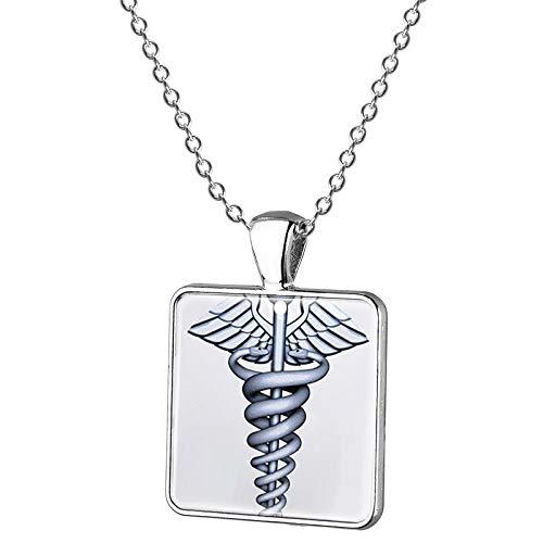 Oro Color Caduceo Médico Símbolo Collar Rn Md Doctor Práctica Enfermeras Cuadrado Colgante Joyería