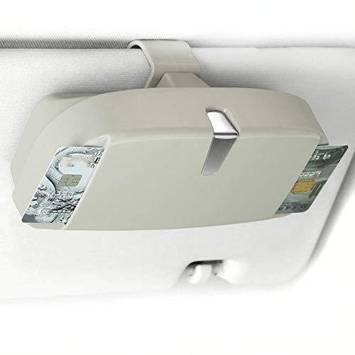 BESTT Brillenhalter für Auto Brillenhalterung mit Kartenhalter für Sonnenbrille Männer Frauen, EIN Nützlich Auto Zubehör Innenraum (Grau)