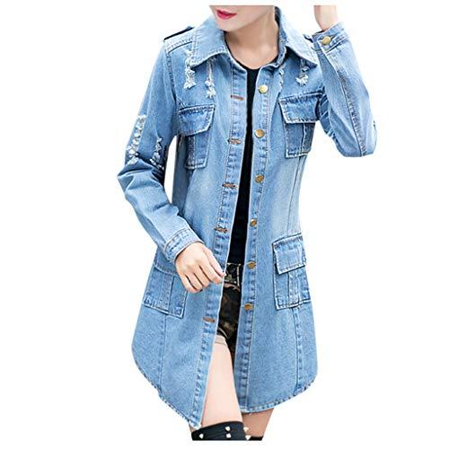 JERFER abbigliamento Giacca di Jeans Strappata da Donna Giacche Lunghe Casual da Donna per Motociclisti
