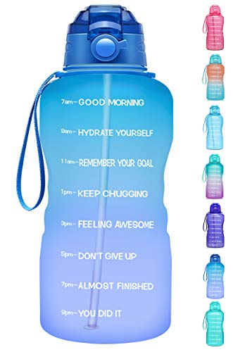 Giotto Large 1 Gallon/128oz Motivational Water Bottle with Time Marker & Straw,Leakproof Tritan BPA Free Water Jug,Ensure You Drink Enough Water Daily for Fitness,Gym and Outdoor-Green/Pink
