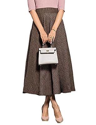 Women's High Waist A-line Flared Long Plaid Wool Skirt Winter Fall Skirt
