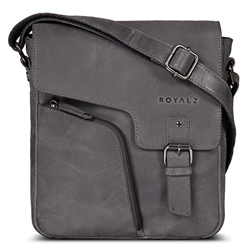 ROYALZ Vintage Leather Bag Men Small Mens Shoulder Bag Vintage Messanger-Bag Cross Body Genuine Leather Casual Style Men Travel, Color:Navy Grey
