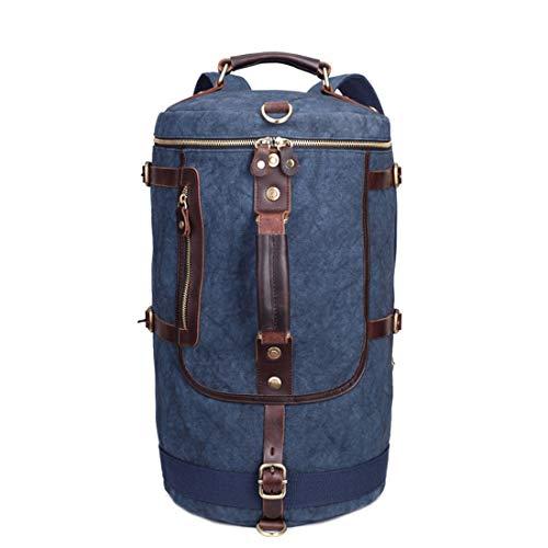 Wayamiaow eenvoudige trend gek paard emmer tas ronde mannen rugzak vrije tijd reizen een schouder canvas tas campingtas fietstas (kleur: blauw)
