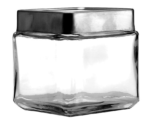 Anchor Hocking 1-Quart Stackable Jars with Brushed Aluminum Lid, Set of 6