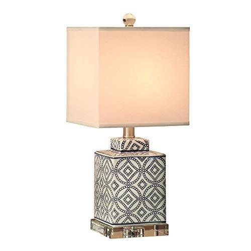 BJLWTQ Lámpara de Mesa, cerámica China Cama Dormitorio de la lámpara de Tabla Simple Moderna Sala de Estudio Sala de Estar Creativa Cristal cálida Lámpara de Mesa