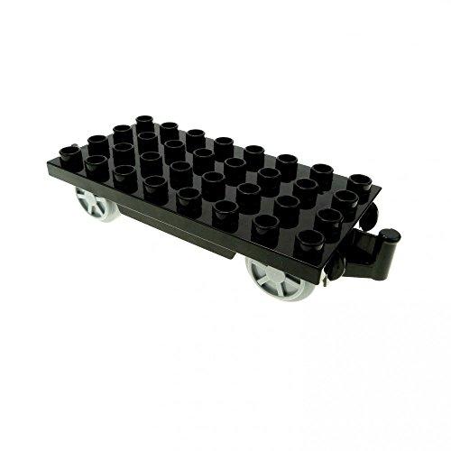 1 x Lego Duplo Eisenbahn Anhänger schwarz hell grau Räder für Cargo Waggon Intelli Zug ohne Infrarot Funktion 31300 c03