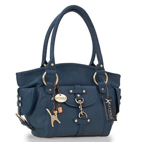 Catwalk Collection Handbags - Leder - Umhängetasche/Lederhandtasche/Schultertasche - KARLIE - Blau