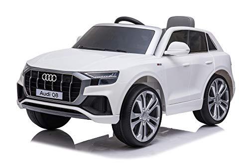 Mondial Toys Auto Macchina Elettrica per Bambini 12V AUDI Q8 con Sedile in Pelle Telecomando 2.4G Porte Apribili Bianco