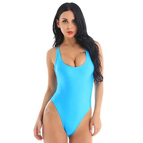 Bodies Mujer Traje De Baño Sexy De Una Pieza con Cuello En U Profundo para Mujer, Espalda Cruzada, Corte Alto, Sin Relleno, Traje De Baño, Ropa De Playa, Traje De Baño-Light_Blue_S
