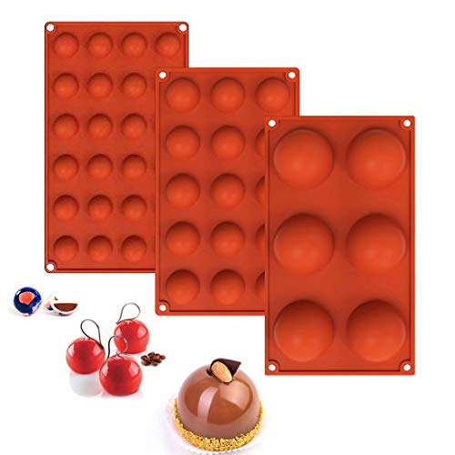 Silicone Molds for Chocolate, Cake, Jelly, Pudding,Dome Mousse,Soap, Non Stick Round Shape Half Sphere Mold,BPA Free Cupcake Baking Pan,6 Holes,15 Holes,24 Holes(3PCS) (red)