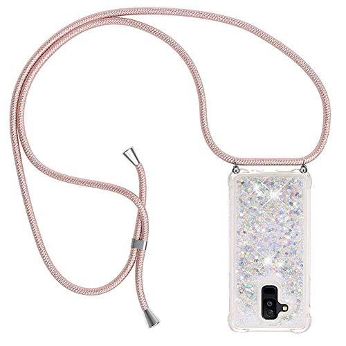 Ptny Case Funda Colgante movil con Cuerda para Colgar Samsung Galaxy A6 Plus 2018 Carcasa Correa Transparente de TPU con Cordon para Llevar en el Cuello con Ajustable Collar Cadena Cordón en Oro Rosa