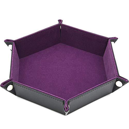 VWH PU Leder Folding Hexagon Rechteck Tablett für RPG DND und andere Tischspiele (lila)