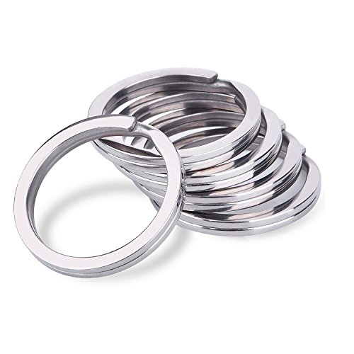 Youkara Lot de 100 porte-clés ronds en acier plaqué nickel traité thermiquement pour plus de résistance 25 mm de diamètre