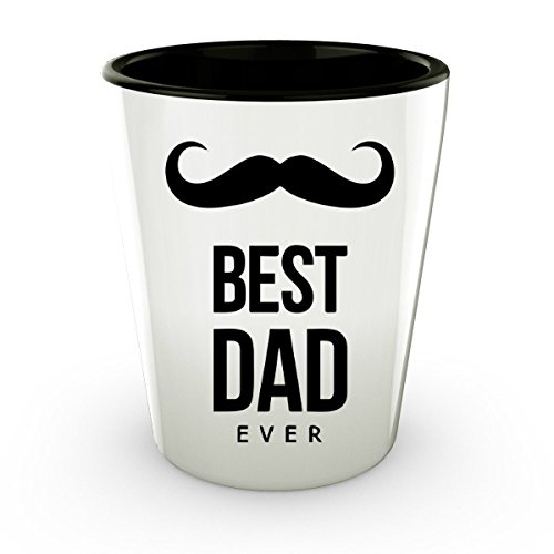 Shot Glasses Funny - Ceramic Fathers Day Shot - Best Dad Ever Glass (2)