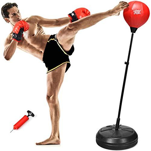RELAX4LIFE Punchingball, aufblasbarer Boxball mit Boxhandschuhen & Luftpumpe, höhenverstellbarer Standboxball: 120-154 cm, Boxsack Set für Kinder & Jugendliche & Erwachsene, Box Set freistehend, rot