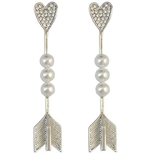 Pendientes colgantes de tres perlas de aleación chapada en oro de moda Flecha de Cupido Amor Peach Blossom Lady Pendientes-Plata