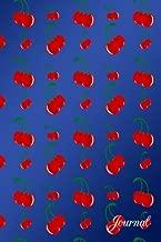 Journal: Navy blue red cherries notebook