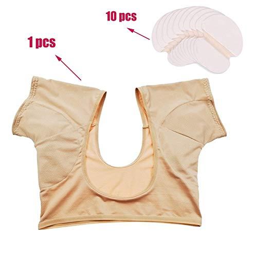 Onderarm jurk kleding+10 Stks Wegwerp Sweat Pads, voorkomen Onderarm transpiratie Sweat Marks Tackle Overmatig transpiratie probleem M