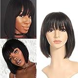 Perruques de cheveux humains pour les femmes noires perruques de cheveux courts avec une frange brésilienne vierge couleur naturelle de cheveux humains 10'