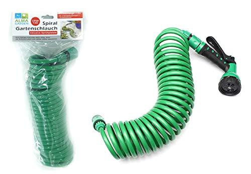 Alma Garden - flexibler Gartenschlauch - 7,5m - grün - Spiralschlauch mit Sprühkopf - adaptierbar - erweiterbar