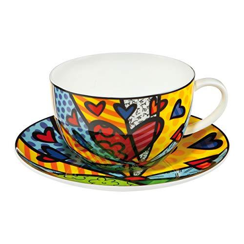 Goebel 66452541 Romero Britto Pop Art Tee-/Cappuccinotasse mit Motiv A New Day