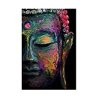 壁にカラフルな抽象的な仏像キャンバスアートポスターとプリント仏教美術の写真家の壁の装飾60x90cmフレームレス