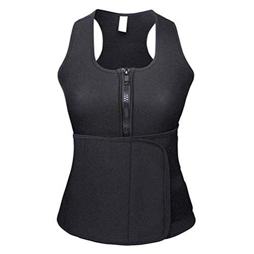 Healifty Chaleco de Sudor de Neopreno Corsé de Compresión Chaleco Entrenador de Cintura Control de Vientre Adelgazante Body Shaper para Mujer - Talla L (Negro)
