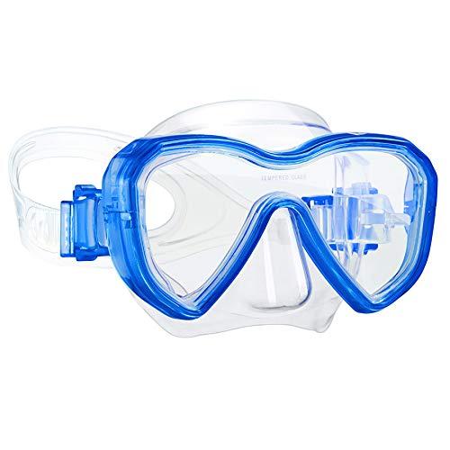 Dorlle Kinder Taucherbrille Tauchmaske,Anti-Fog und Anti-Leck Schnorchelbrille Schwimmbrille Wasserdicht Tempered Glas Maske für Kinder,Blau